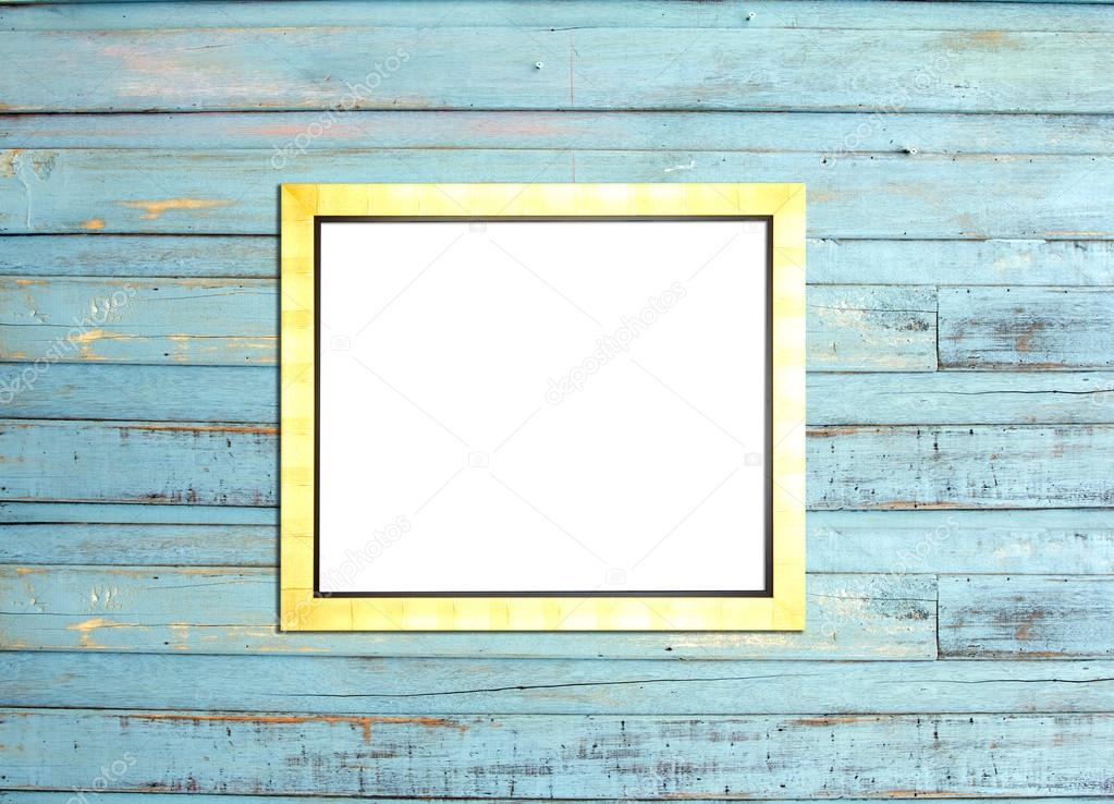 gold vintage bilderrahmen auf blauem holz hintergrund stockfoto blacknote 12099371. Black Bedroom Furniture Sets. Home Design Ideas
