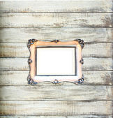 Silver Vintage picture frame on old wood background — Stock Photo