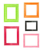 Pink Vintage picture frame on blue wood background — Stockfoto