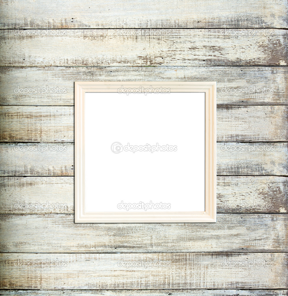 White Wood Frame : White Vintage picture frame on old wood background — Stock Photo ...
