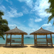 Tropical gazebo with chairs on amazing beach palm tree — Stock Photo #12307925