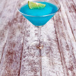 Frozen Blue Margarita Cocktail in martini glass — Stock Photo