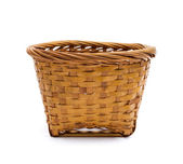 Empty Wooden Basket isolated on white background — Stock Photo