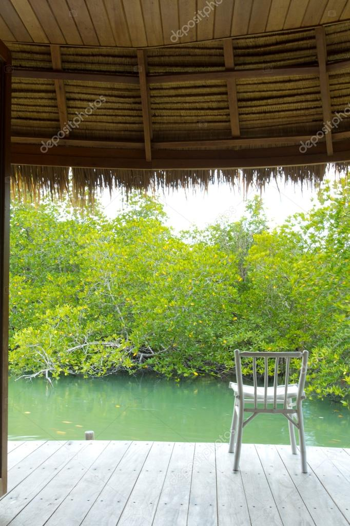 One white wooden canvas chair on private terrace of the mangrove forest water — Stock Photo #12307994