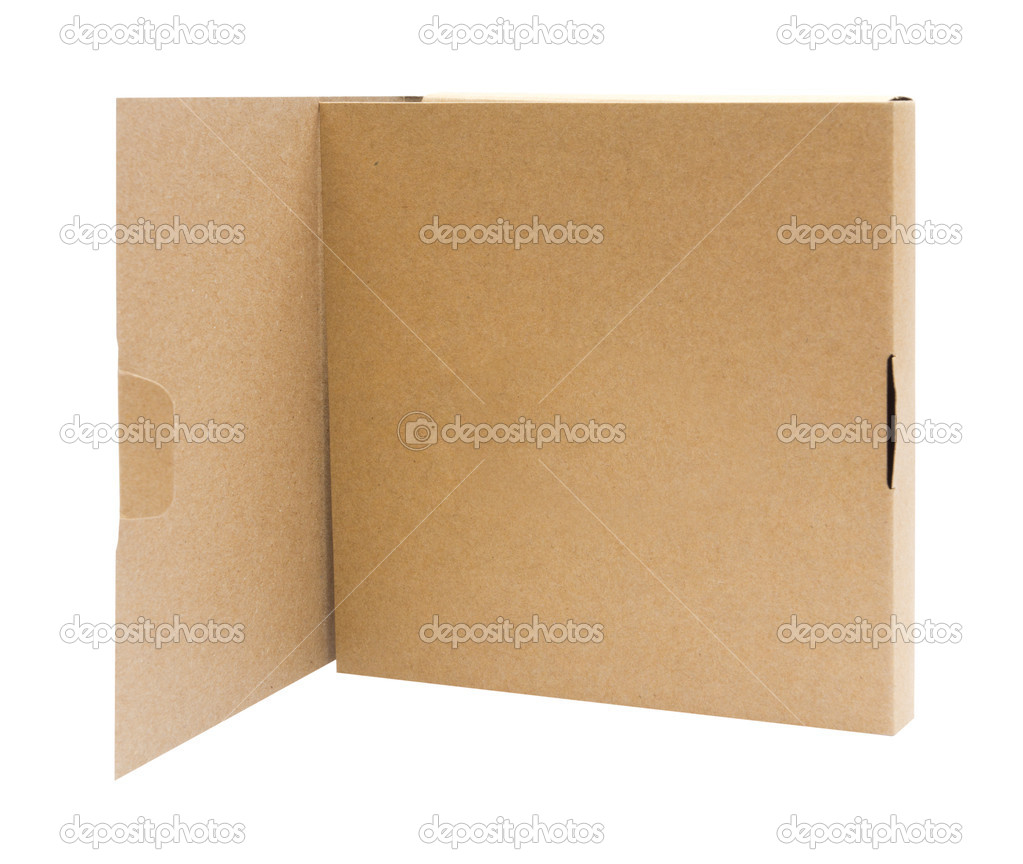 Recycle Cardboard box package front view with isolated on white background  Stock Photo #12309224
