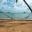 Stock Photo: Hammock strung between two palms on tropical island.