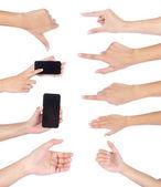Zestaw gestów dłoni, na białym tle — Zdjęcie stockowe