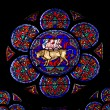 Notre Dame stained glass — Stock Photo