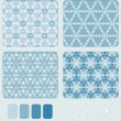 Snowflake's Geometric Seamless Pattern Set — Stock Vector