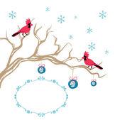 Christmas background cardinal bird brunch decoration — Stock Vector
