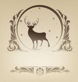 Christmas standing raindeer background rich ornament — Stock Vector