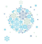 Stylized silhouette of hanging ball formed by snowflakes — Stock Vector