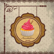 Vintage frame with cupcake template — Stock Vector #12038017