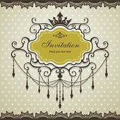 Vintage frame with crown — Stockvector