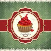 Vintage cupcake invitation design — Stock vektor