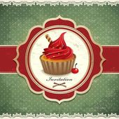 Vintage cupcake invitation design — Διανυσματικό Αρχείο