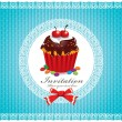Vintage Cute cupcake invitation — ストックベクタ