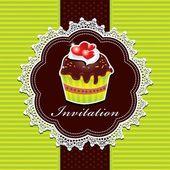 Diseño de la invitación de magdalena vintage — Vector de stock