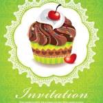Vintage cupcake invitation frame design — Stock Vector