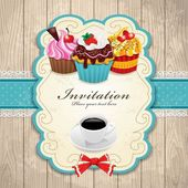 Vintage frame with cupcake & Coffee template — Stock vektor