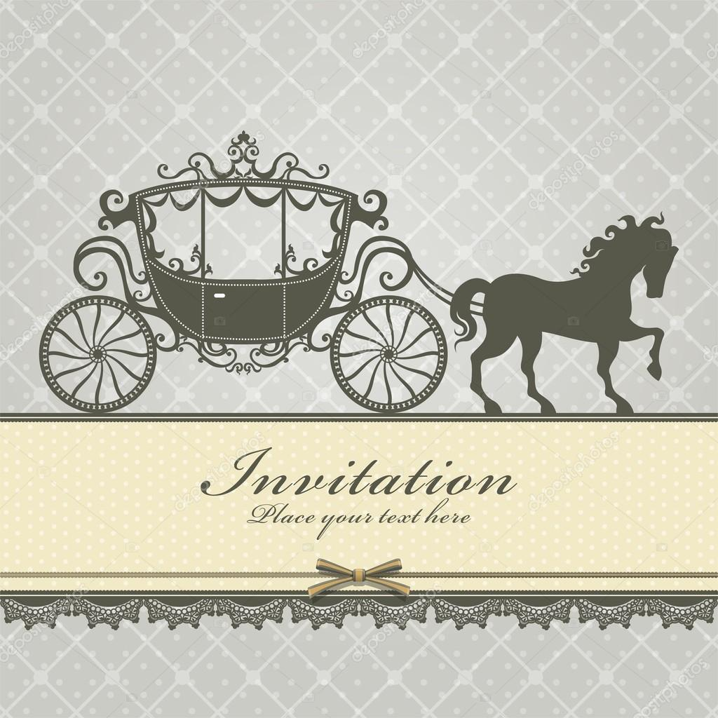 Vintage Luxury carriage invitation template — Stock Vector #13823712