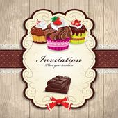 Vintage chocolate cupcake invitation template — Stock Vector