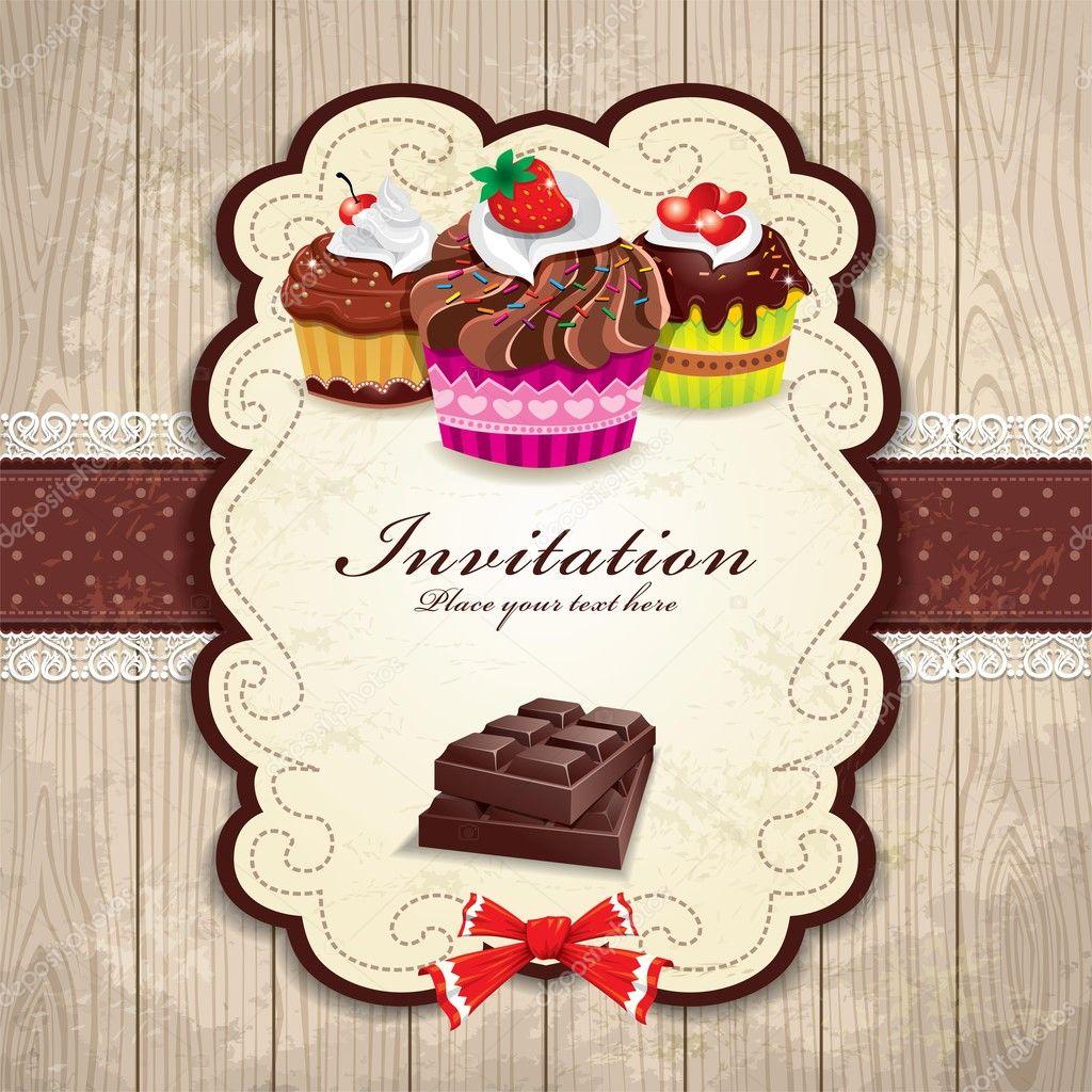 vintage chocolate cupcake invitation template stock illustration