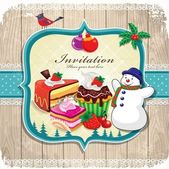 Vintage frame with Christmas background,birds, holly leafs, cupcake, snowman — Stock Vector