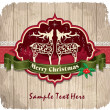 Vintage frame with Christmas background, deer, holly - Stock Vector