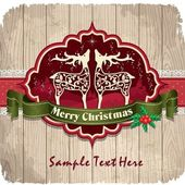 Vintage frame with Christmas background, deer, holly — Stock Vector