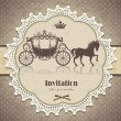 Vintage horse carriage invitation template — Stock Vector #17445341
