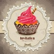 Vintage frame with cupcake invitation template - Imagen vectorial
