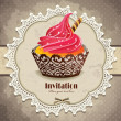 Vintage frame with cupcake invitation template - Векторная иллюстрация