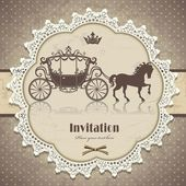 Vintage horse carriage invitation template — Stock Vector