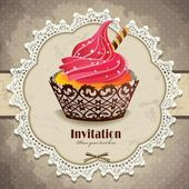 Vintage frame with cupcake invitation template — Stock Vector