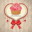 Vintage valentine frame with cupcake, ribbon — Stock Vector #18879805