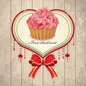 Vintage valentine frame with cupcake, ribbon — Stock Vector