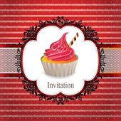 Vintage frame with cupcake invitation design — Stock Vector