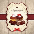 Vintage frame with chocolate cupcake template - 图库矢量图片