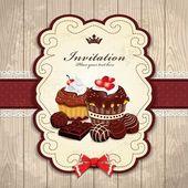 チョコレートのカップケーキ テンプレートとビンテージ フレーム — ストックベクタ