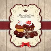 Vintage frame with chocolate cupcake template — 图库矢量图片