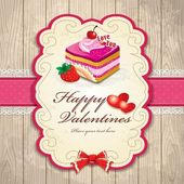 Vintage frame with Valentines & cake — Stock Vector