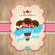 Stock Vector: Vintage frame with icecream template