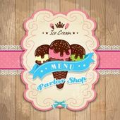 Vintage frame met icecream sjabloon — Stockvector