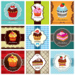 Vintage frame with cupcake set design — Stock Vector