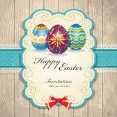 Uovo di Pasqua vintage design invito — Vettoriale Stock