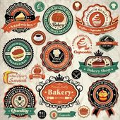 Vintage bakery, cupcake label set template — Stock Vector