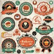Collection of vintage retro grunge bakery food labels, badges and icons — Stock Vector #24052883