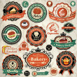 Stock Vector: Collection of vintage retro grunge bakery food labels, badges and icons