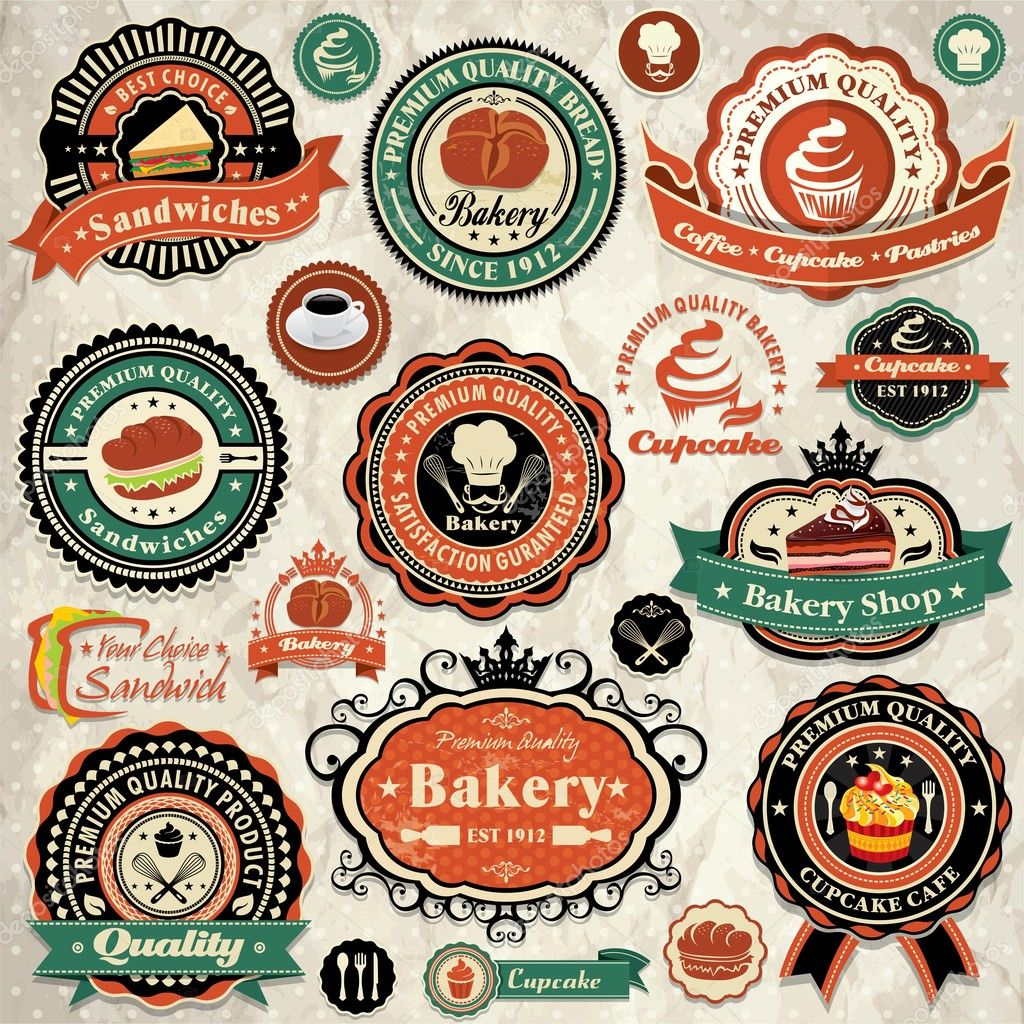 Collection of vintage retro grunge bakery food labels, badges and ...
